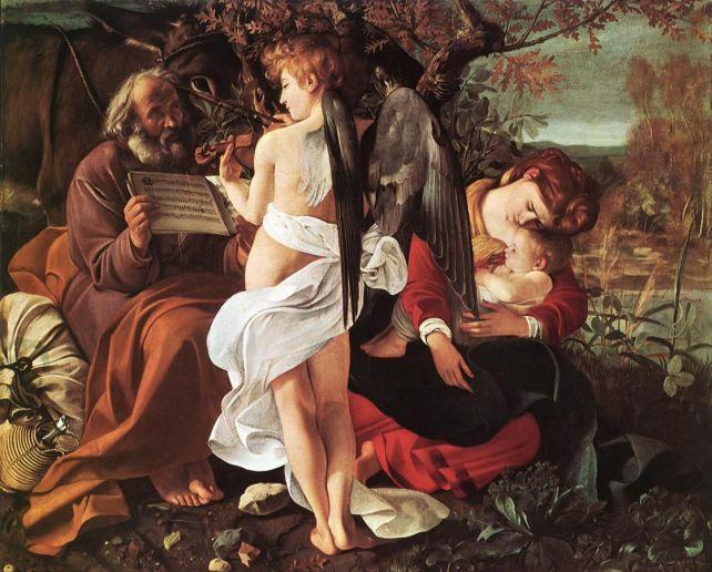 """Michelangelo Merrisi detto il Caravaggio - """"Il riposo durante la fuga in Egitto""""  1596 - 1599 -Galleria Doria Pamphilij di Roma"""