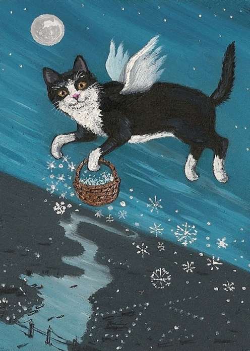 "Ryta Tuxedo ""Cat angel fairy christmas snow"""