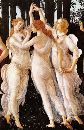 botticelli Alla sua sinistra si trovano le tre Grazie che stanno danzando